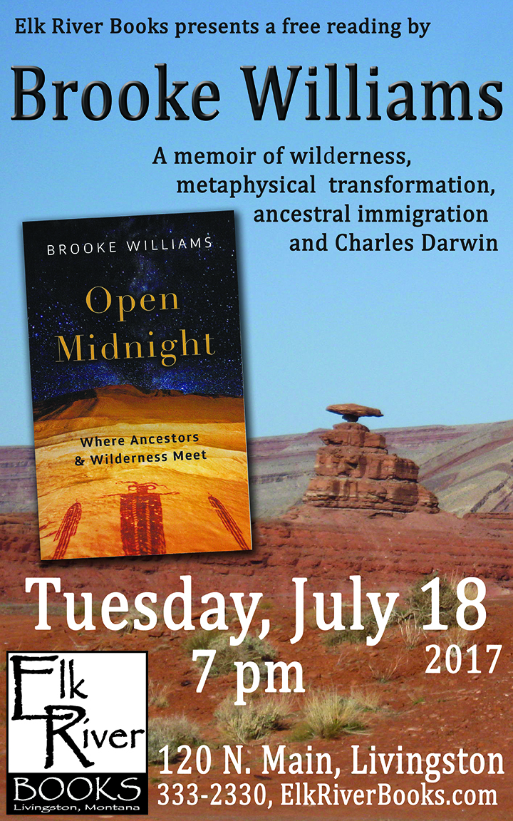 Image for Brooke Williams reading event for Open Midnight Poster, 18 July 2017