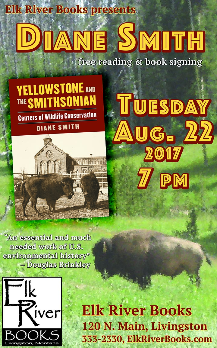 Image for Diane Smith reading event for Yellowstone and the Smithsonian Poster, 08 August 2017