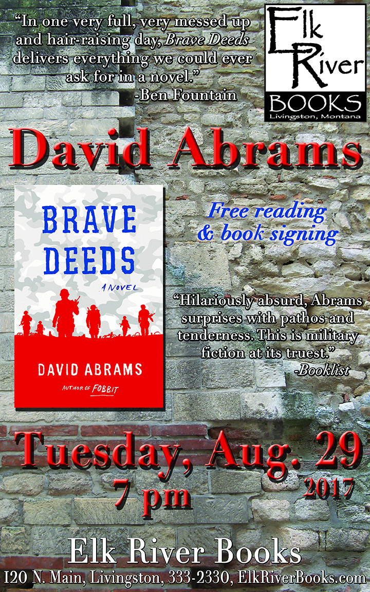 David Abrams reading event for Brave Deeds Poster, 29 August 2017