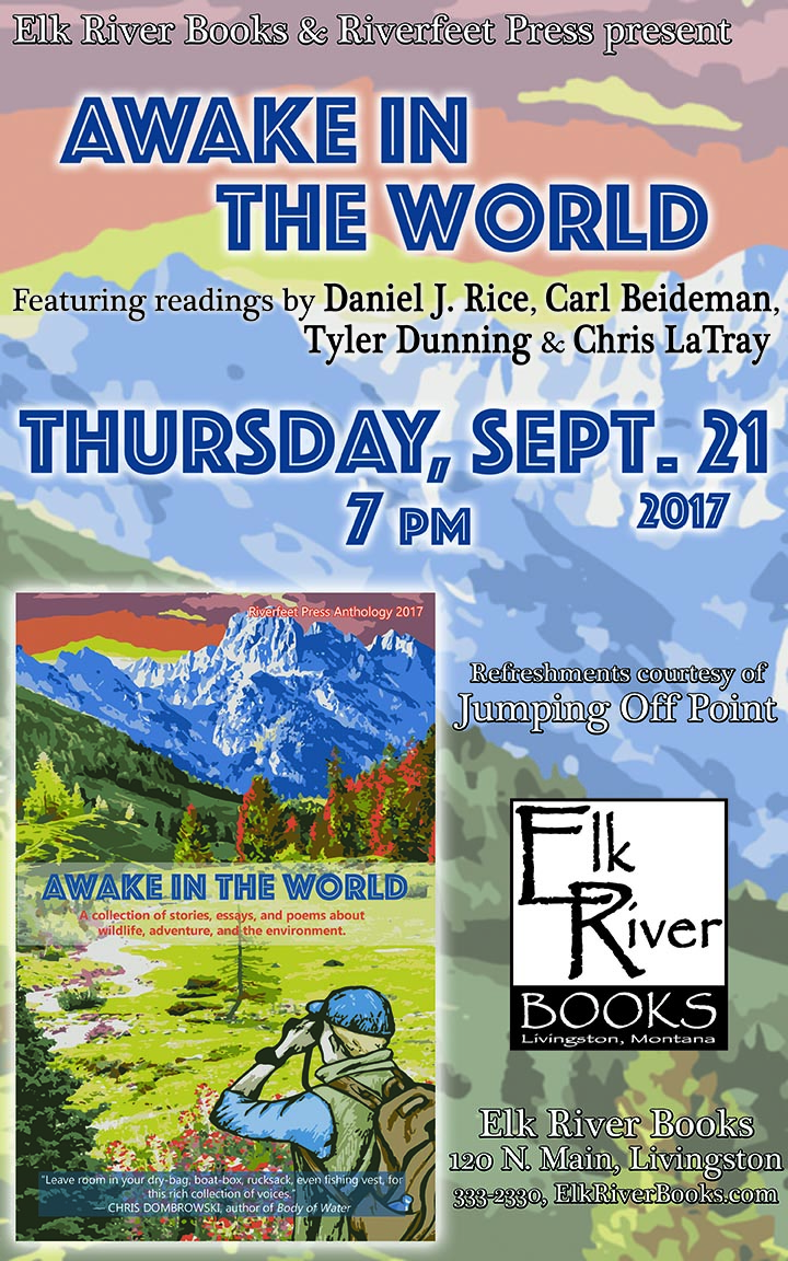 Image for Riverfeet Press reading event for Awake in the World poster, 21 September 2017