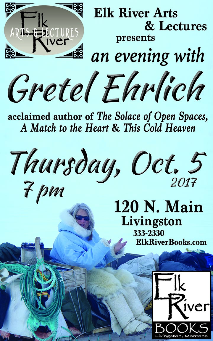 Image for An Evening with Gretel Ehrlich reading event poster, 5 October 2017