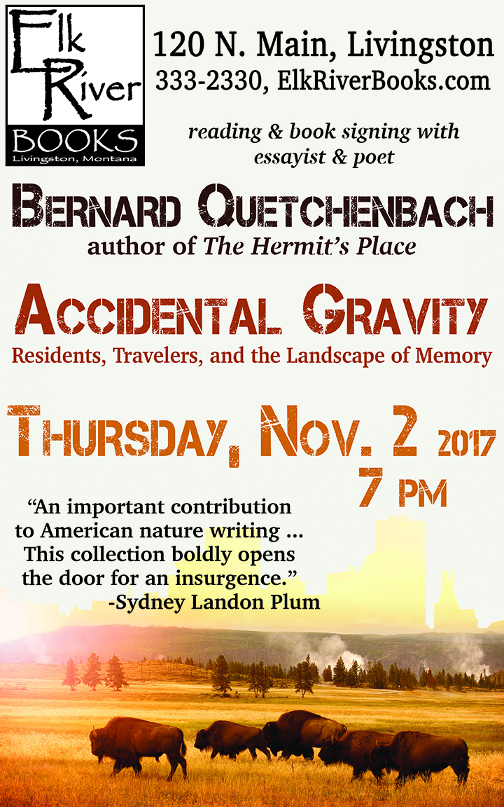 Image for Bernard Quetchenbach reading event for Accidental Gravity poster, 2 November 2017