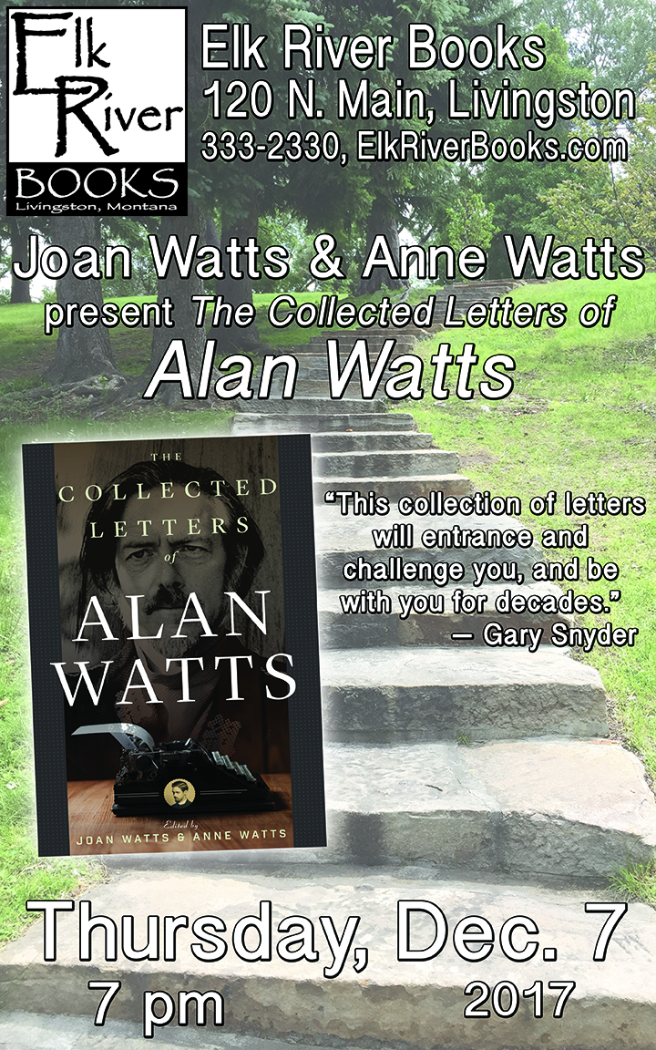 Image for Joan Watts reading event for The Collected Letters of Alan Watts poster, 7 December 2017