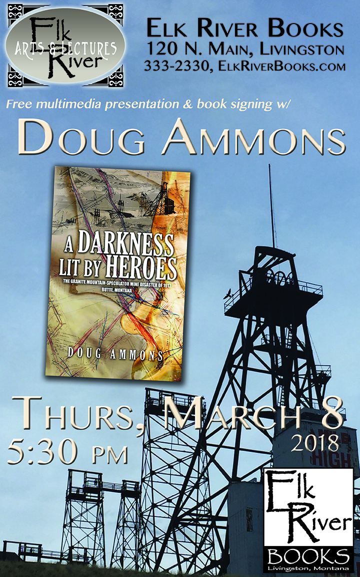 Image for Doug Ammons reading event for A Darkness Lit by Heroes poster, 8 March 2018