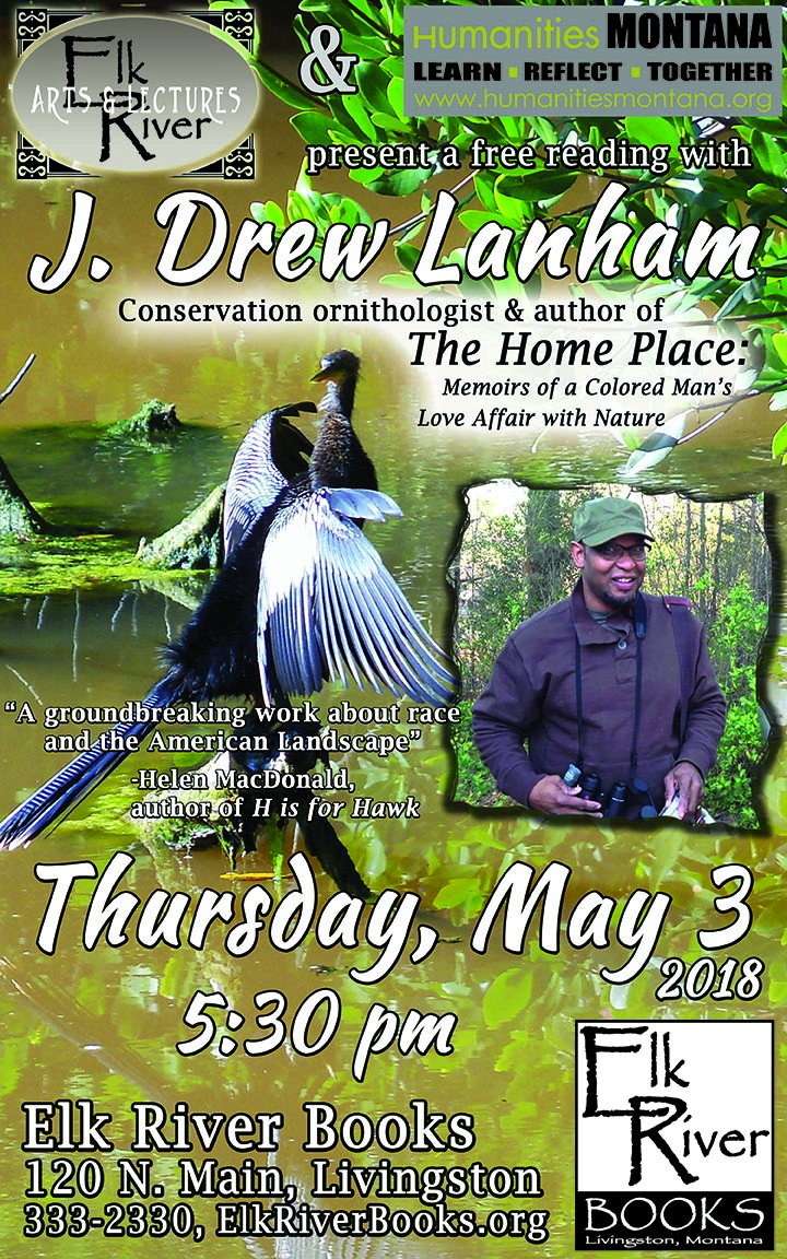 Image for J. Drew Lanham reading event for The Home Place poster, 3 May 2018