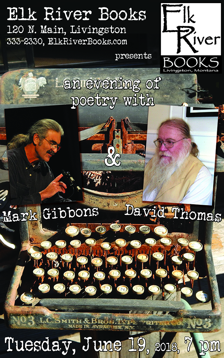 Image for An evening of poetry with Mark Gibbons and David E. Thomas reading event poster, 19 June 2018