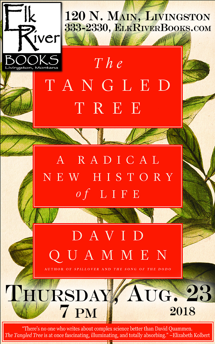 Image for David Quammen reading event poster for The Tangled Tree, 23 August 2018