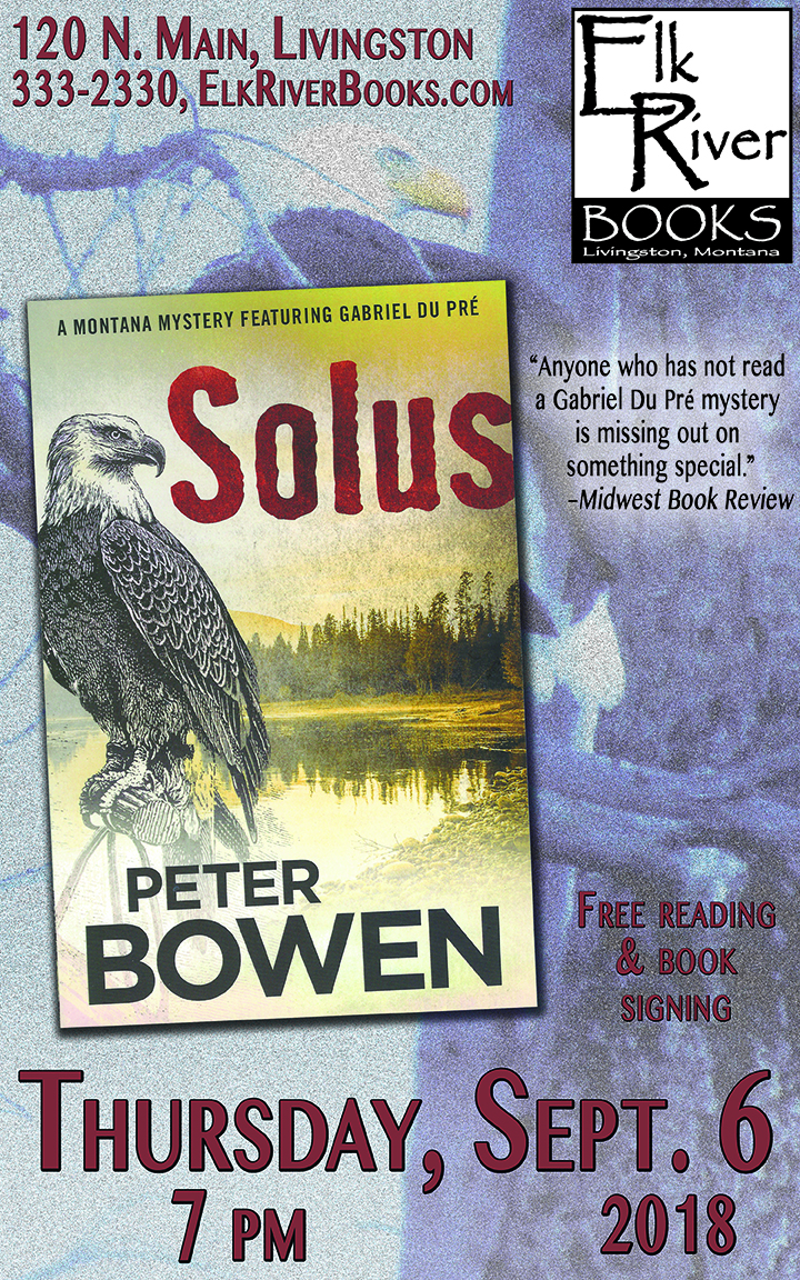 Image for Peter Bowen reading event poster for Solus, 6 September 2018